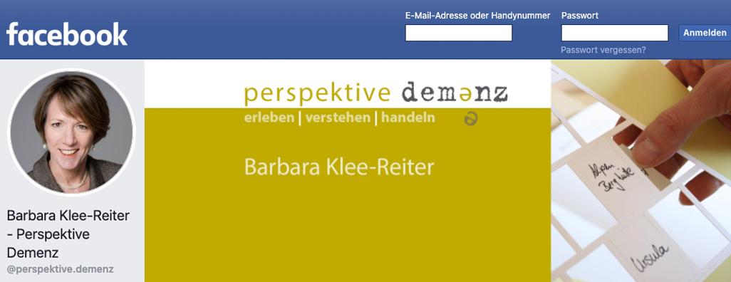 Screenshot des facebook Profils von perspektive demenz